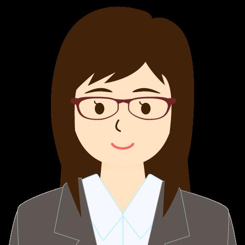 画像:スーツ姿の女性会社員 眼鏡 流し前髪