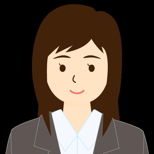 画像:スーツ姿の女性会社員 流し前髪