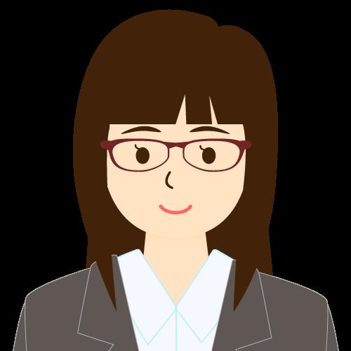 画像:スーツ姿の女性会社員 眼鏡 パッツン前髪