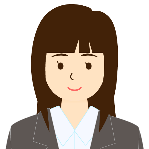 画像:スーツ姿の女性会社員 パッツン前髪