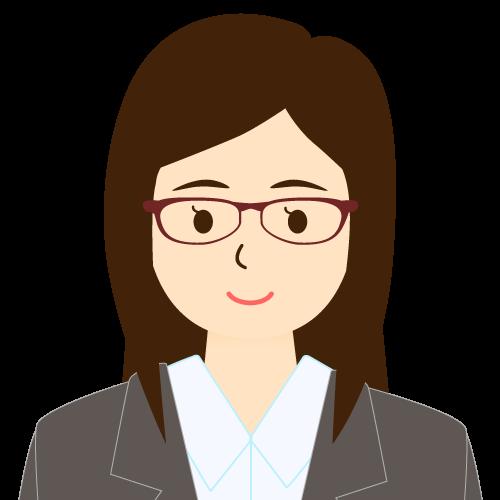 画像:スーツ姿の女性会社員 眼鏡 ワンレン