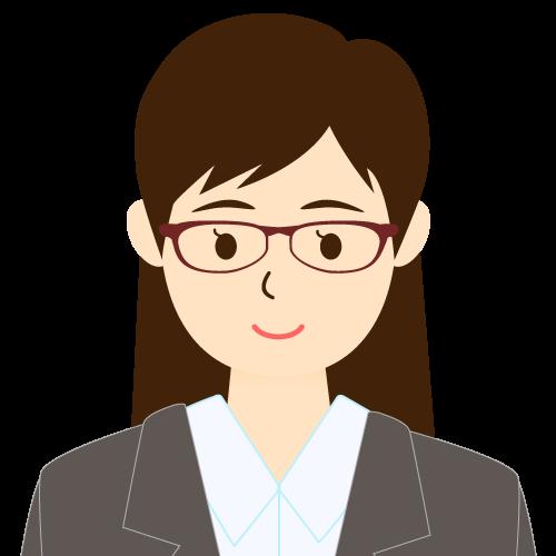 画像:スーツ姿の女性会社員 眼鏡 流し前髪 耳だし