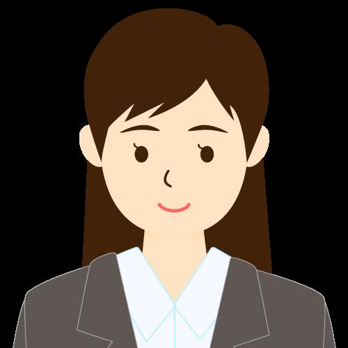 画像:スーツ姿の女性会社員 流し前髪 耳だし