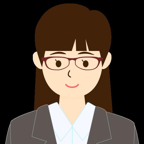 画像:スーツ姿の女性会社員 眼鏡 パッツン前髪 耳だし