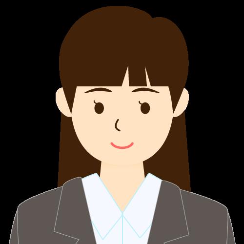 画像:スーツ姿の女性会社員 パッツン前髪 耳だし