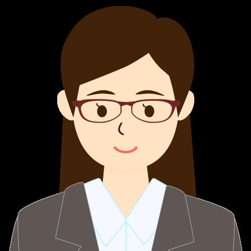 画像:スーツ姿の女性会社員 眼鏡 ワンレン 耳だし