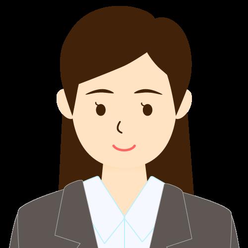 画像:スーツ姿の女性会社員 ワンレン前髪 耳だし