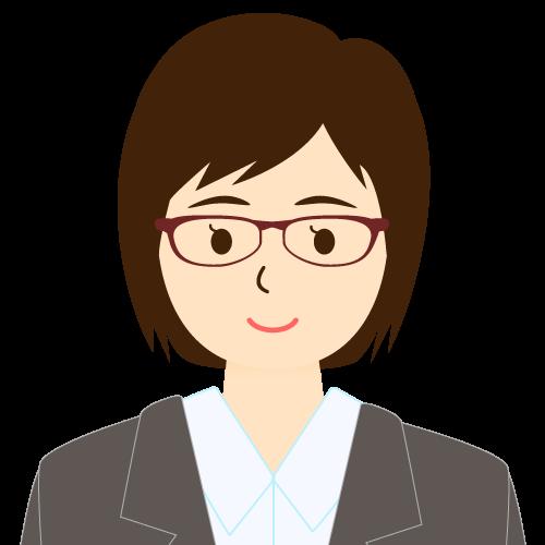画像:スーツ姿の女性会社員 ミディアムヘア 流し前髪 眼鏡