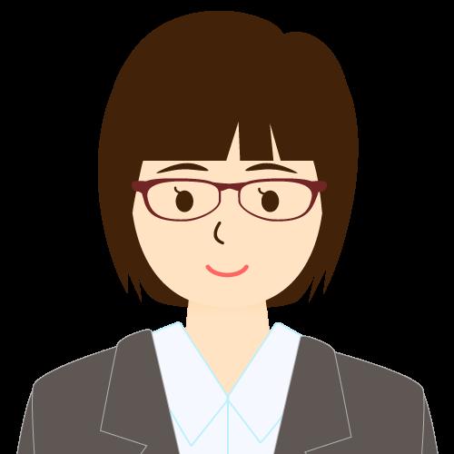 画像:スーツ姿の女性会社員 ミディアムヘア パッツン前髪 眼鏡