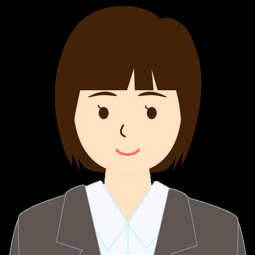 画像:スーツ姿の女性会社員 ミディアムヘア パッツン前髪