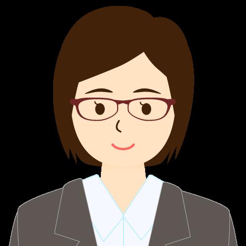 画像:スーツ姿の女性会社員 ミディアムヘア ワンレン 眼鏡