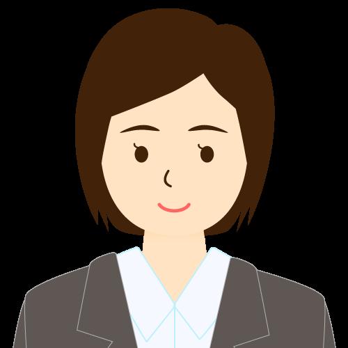 画像:スーツ姿の女性会社員 ミディアムヘア ワンレン