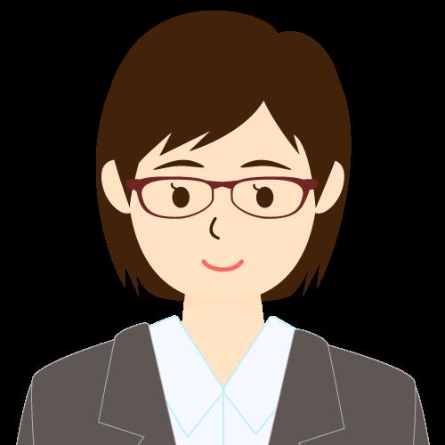 画像:スーツ姿の女性会社員 ミディアムヘア 流し前髪 眼鏡 耳だし