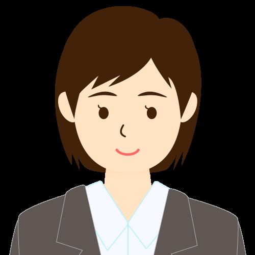 画像:スーツ姿の女性会社員 ミディアムヘア 流し前髪 耳だし