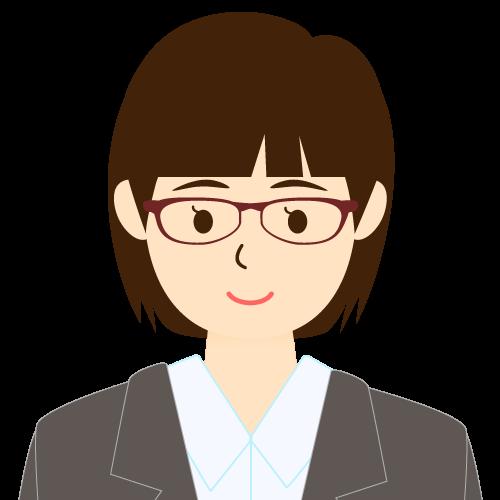 画像:スーツ姿の女性会社員 ミディアムヘア パッツン前髪 眼鏡 耳だし