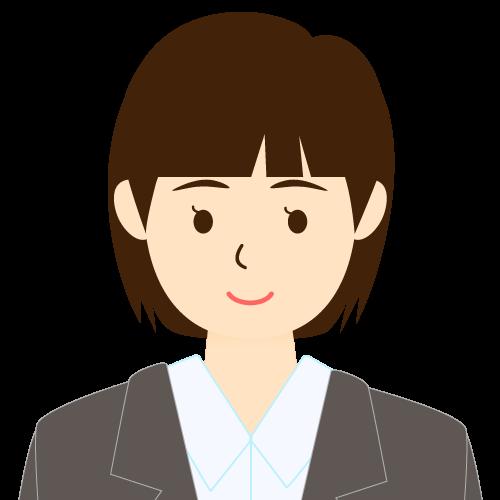 画像:スーツ姿の女性会社員 ミディアムヘア パッツン前髪 耳だし