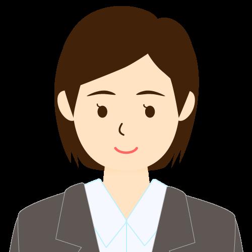 画像:スーツ姿の女性会社員 ミディアムヘア ワンレン 耳だし