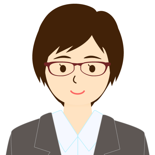 画像:スーツ姿の女性会社員 ショートヘア 流し前髪 眼鏡