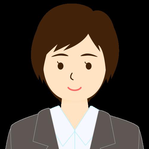 画像:スーツ姿の女性会社員 ショートヘア 流し前髪