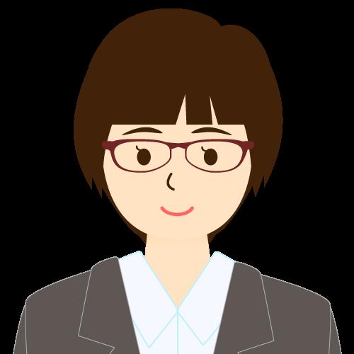 画像:スーツ姿の女性会社員 ショートヘア パッツン前髪 眼鏡