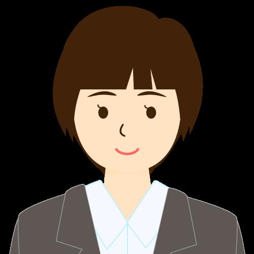画像:スーツ姿の女性会社員 ショートヘア パッツン前髪