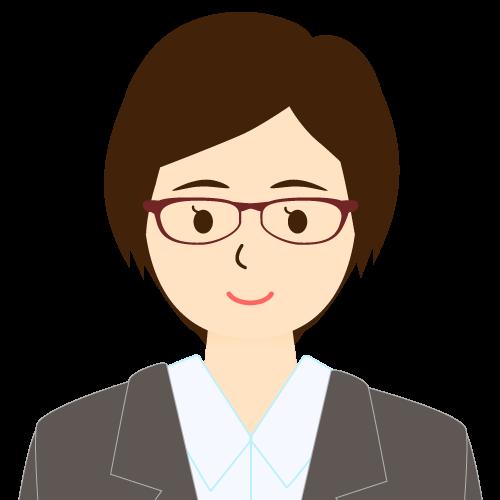画像:スーツ姿の女性会社員 ショートヘア ワンレン 眼鏡