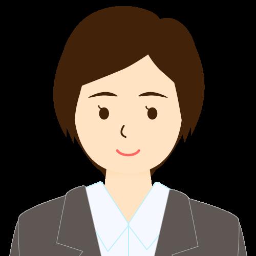 画像:スーツ姿の女性会社員 ショートヘア ワンレン