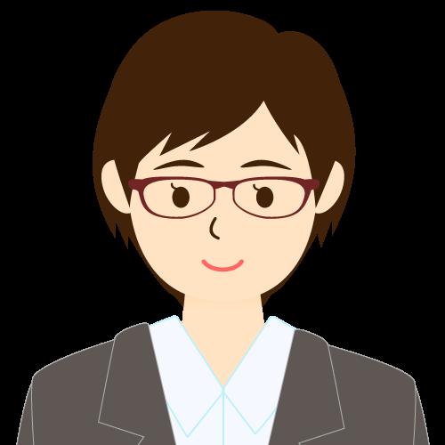 画像:スーツ姿の女性会社員 ショートヘア 流し前髪 眼鏡 耳だし