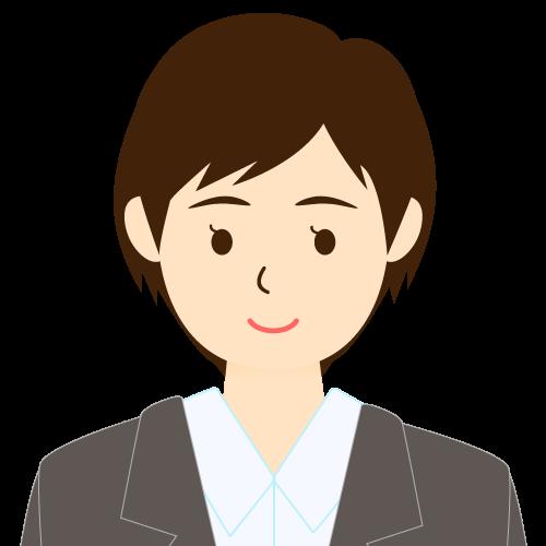 画像:スーツ姿の女性会社員 ショートヘア 流し前髪 耳だし