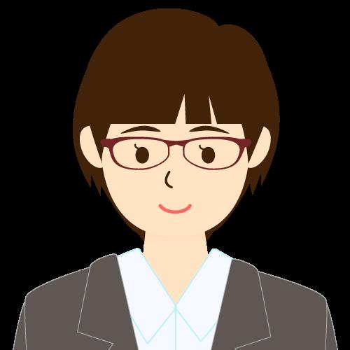 画像:スーツ姿の女性会社員 ショートヘア パッツン前髪 眼鏡 耳だし