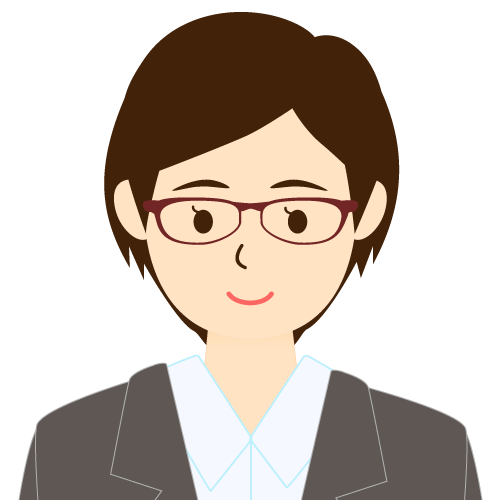 画像:スーツ姿の女性会社員 ショートヘア ワンレン 眼鏡 耳だし