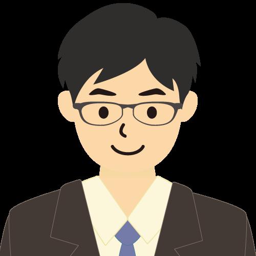 画像:スーツ姿の男性会社員 横分け 眼鏡