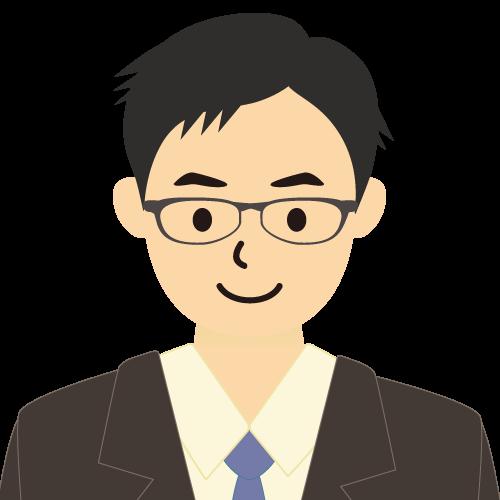 画像:スーツ姿の男性会社員 短髪 メガネ