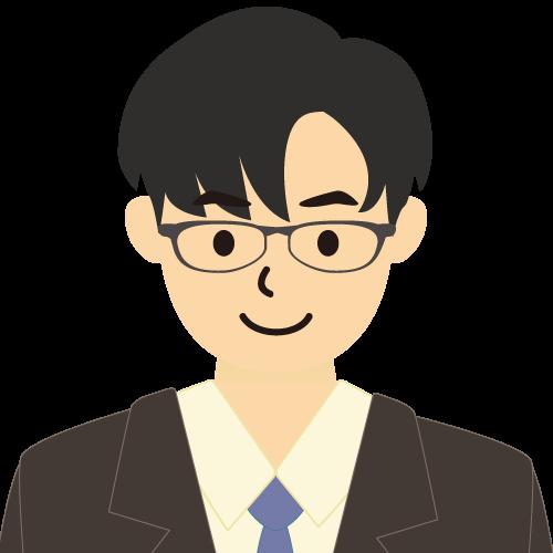 画像:スーツ姿の男性会社員 長い前髪 めがね