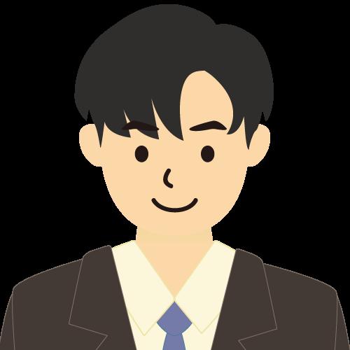 画像:スーツ姿の男性会社員 長い前髪