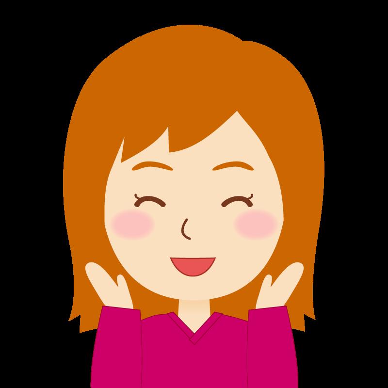 画像:茶髪セミロング女性 喜び