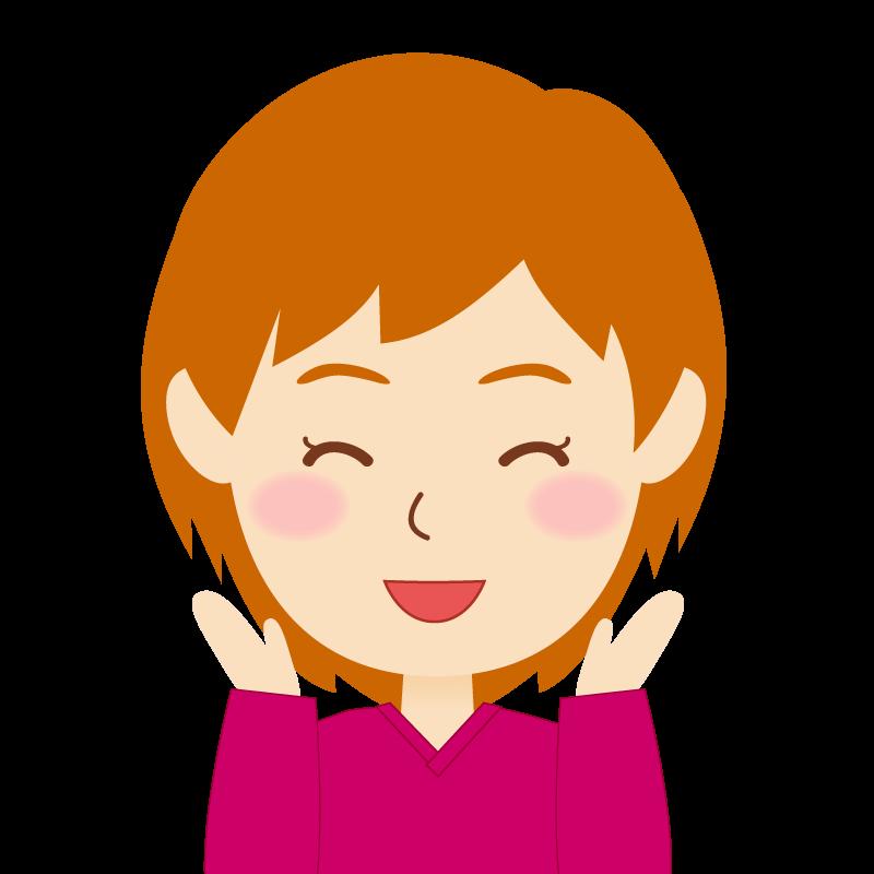 画像:茶髪ショートヘア女性 喜び