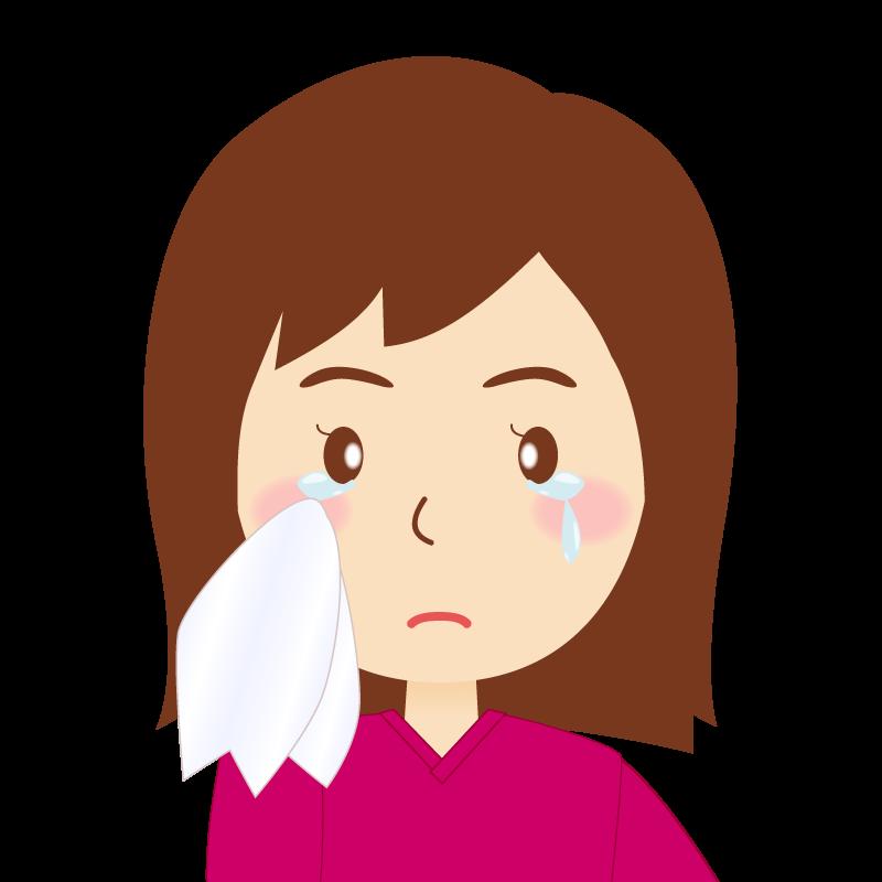画像:セミロング女性 涙