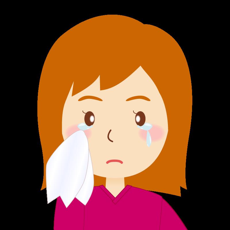 画像:茶髪セミロング女性 涙