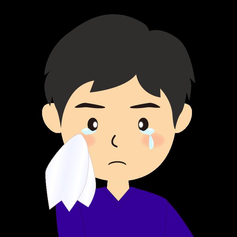 画像:横分け男性 涙