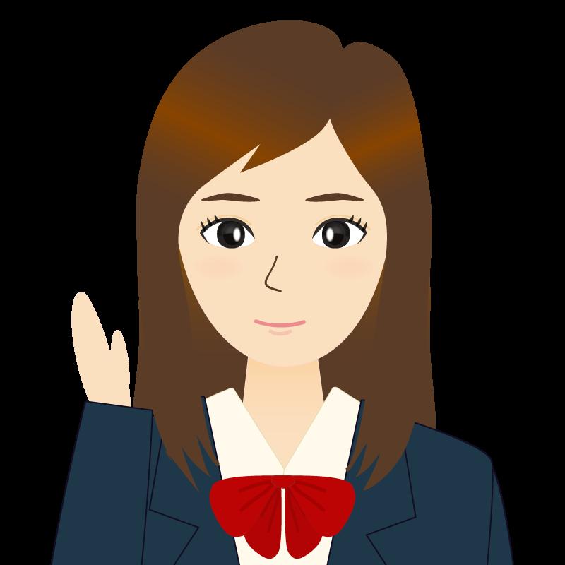 画像:ロングヘアの女性・学生・制服姿 挨拶
