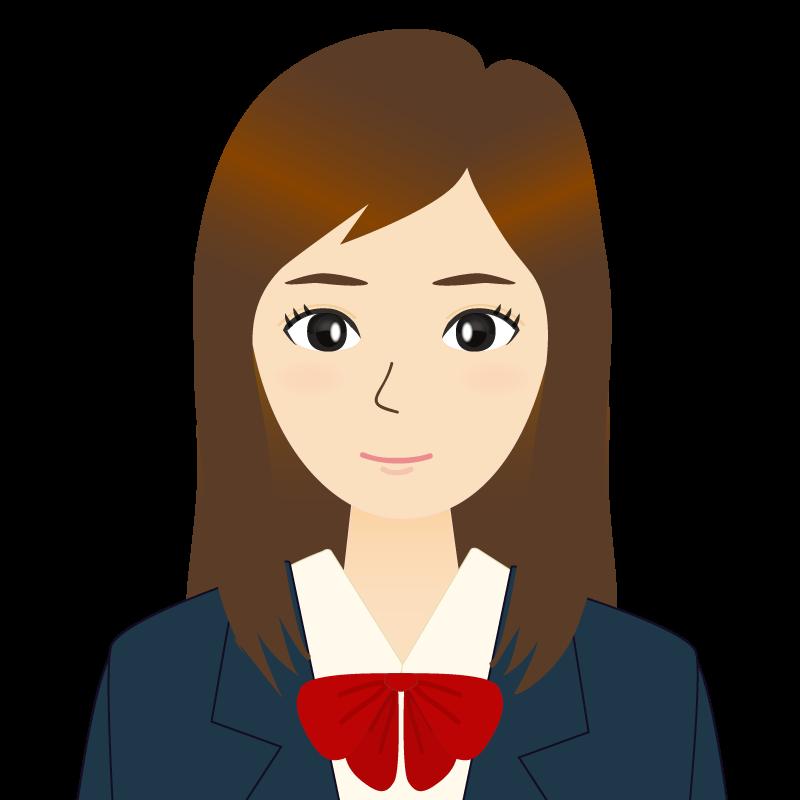 画像:ロングヘアの女性・学生・制服姿