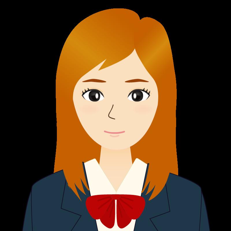 画像:茶髪ロングヘアの女性・学生・制服姿