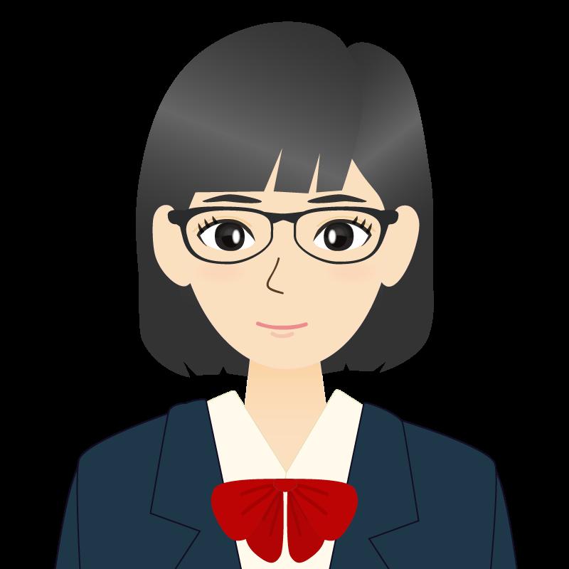 画像:セミロングの女性・学生・制服姿 眼鏡 耳だし