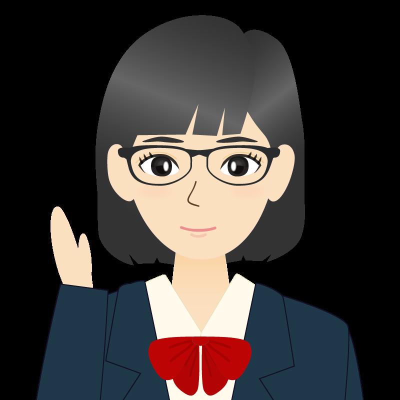 画像:セミロングの女性・学生・制服姿 眼鏡 耳だし 案内