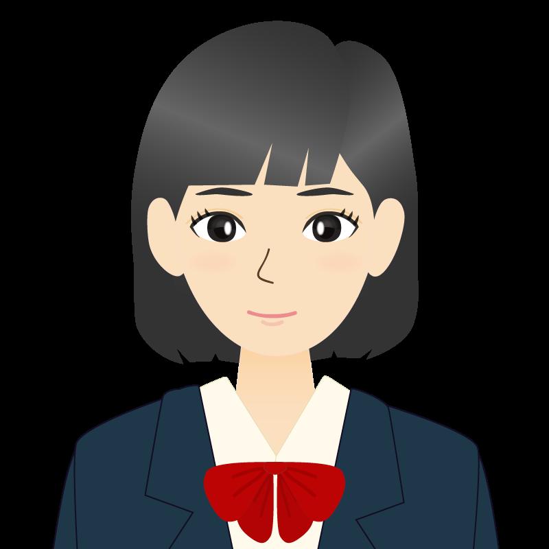 画像:セミロングの女性・学生・制服姿