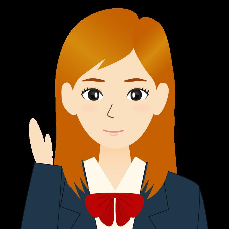 画像:茶髪ロングヘアの女性・学生・制服姿 耳だし 案内