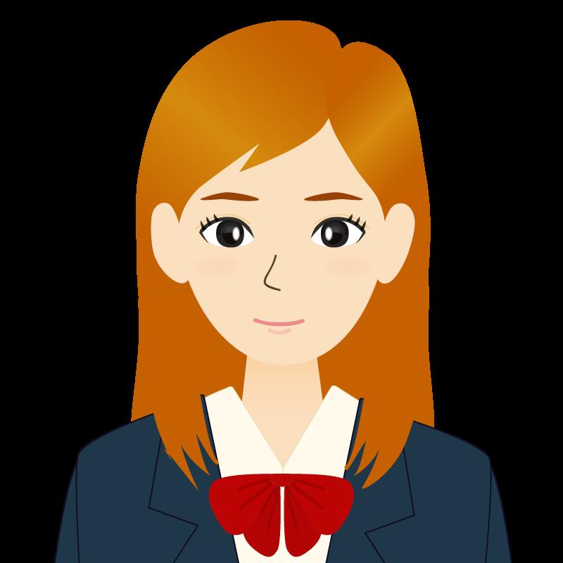 画像:茶髪ロングヘアの女性・学生・制服姿 耳だし