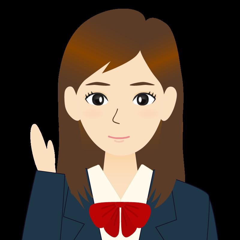画像:ロングヘアの女性・学生・制服姿 耳だし 案内