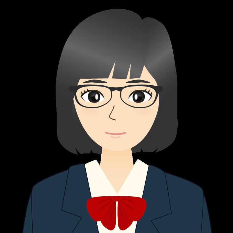 画像:セミロングの女性・学生・制服姿 眼鏡